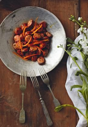 Sweet and sour, honey and oramge fried sausages - Γλυκόξινα λουκάνικα τηγανιά
