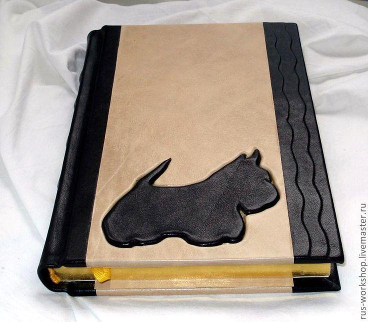 Купить Ежедневник с изображением собаки «Скотч Терьер». - ежедневник, аппликация из кожи, апликация, выжигание