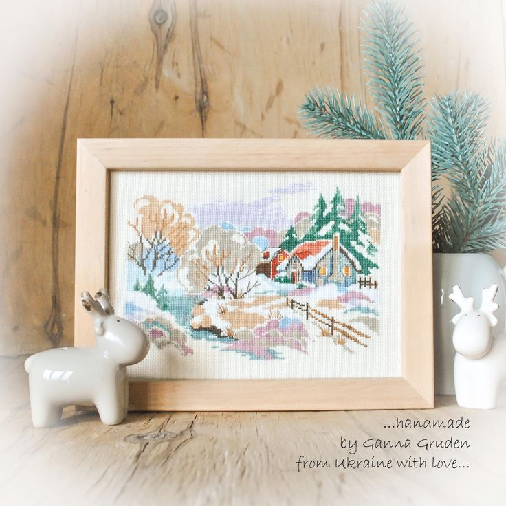 """GRUDEN'S CRAFT Набор для вышивания крестом № 1172 """"Зимний закат""""  #riolis #embroidery #lugana #xstitch #needlework #риолис #вышивкакрестом #равномерка"""