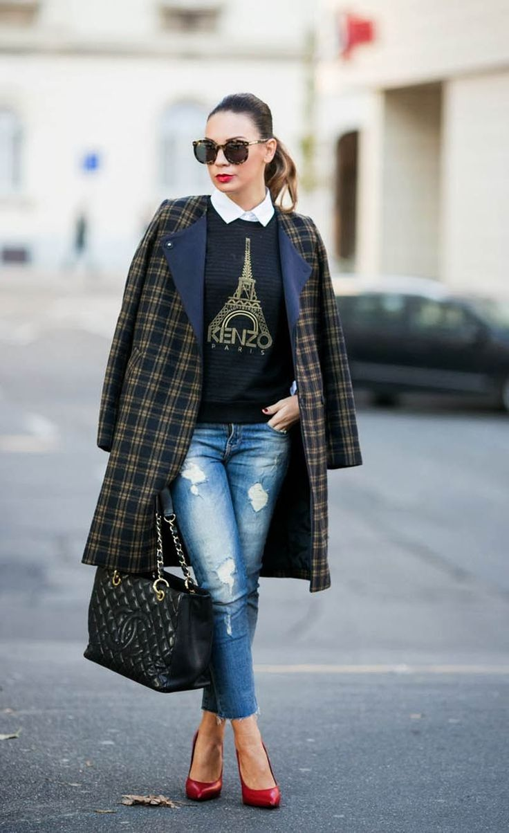 This season it's all about autumnal plaids in shades of navy, gray, deep red, and tan. The checkered coat is popping up everywhere this winter, and likely it could find its way into your closet too. This pattern is bold and classic all at once and figuring how to wear it might be a bit tricky, so go