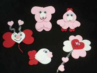 Heart animals with foam heart stickers