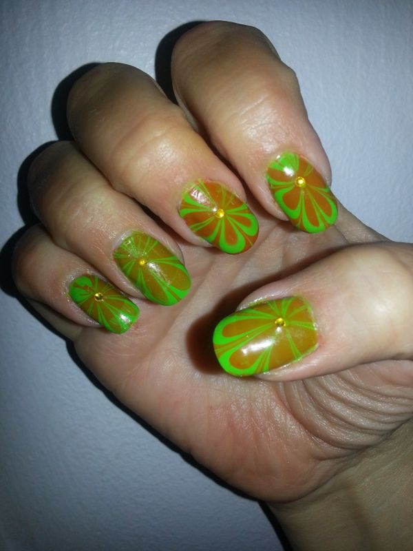 Water Marble - Green & Orange