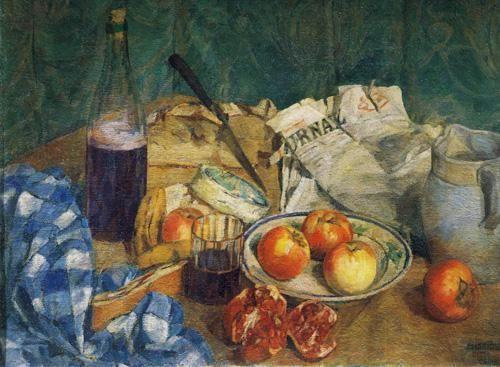 Natura Morta Con Giornale: Victorian watercolour painting by the artist Giuseppe De Sanctis (1858-1924).
