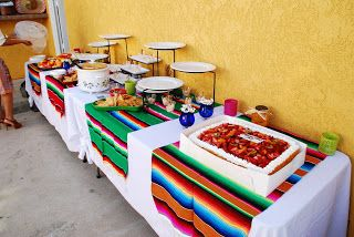 I like the serapes over the white cloth (MKR Creations: Mexican Fiesta Bridal Shower)