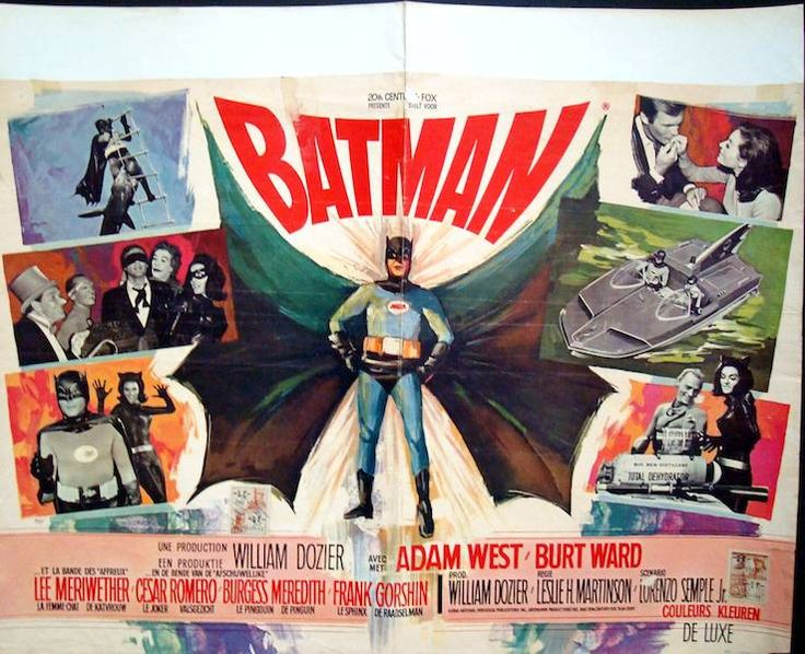 Batman The Movie Belgian poster. Art by Ray (Raymond Elseviers). Adam West. Burt Ward
