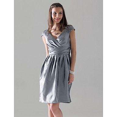 Bridesmaid Dresses in Dusty R  Sheath/ Column V-neck Short Sleeve Knee-length Taffeta Bridesmaid Dress – USD $ 68.59
