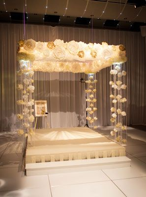 With roses as the central theme, custom-designed and handmade paper roses form the chuppah frame while streams of crystals and roses anchor each corner. A fabric rose serves as the center.