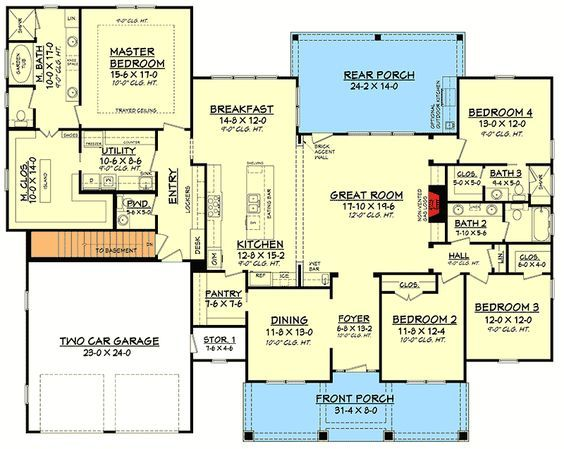 4 Bed Craftsman with Tapered Columns - 51756HZ   1st Floor Master Suite, CAD Available, Cottage, Craftsman, Northwest, PDF, Split Bedrooms   Architectural Designs