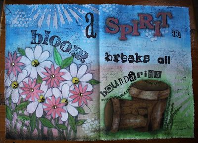 A fabric art journal page using Gelatos.