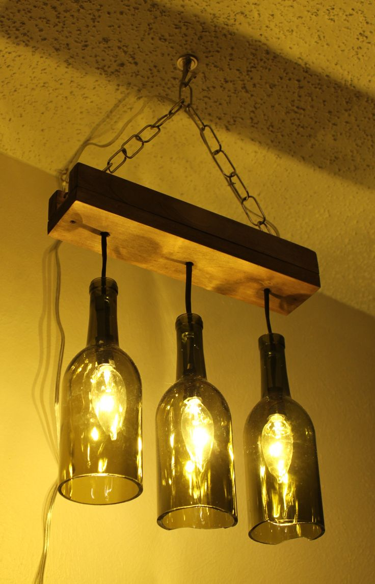 Make A Chandelier For Reusing Wine Glass Bottles Would Look Good Over An Island In Kitchen
