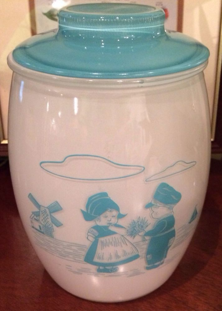 Vintage Fire King Cookie Jar Dutch Boy And Girl Blue With Lid another jar from my childhood