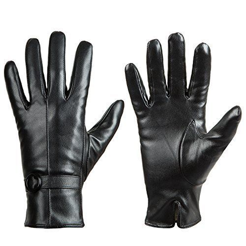 Women Winter Leather Touchscreen Texting Warm Driving Lambskin Gloves