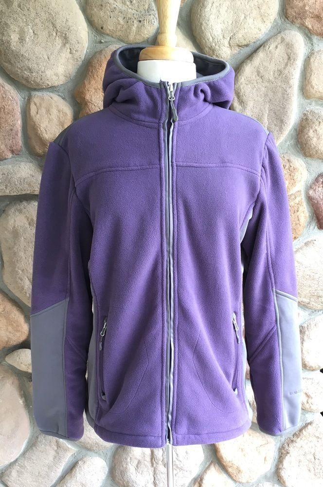 Free Country Live In It Womens Zip Up Hoodie Fleece Jacket Size Large Purple #FreeCountry #FleeceJacket #Outdoor