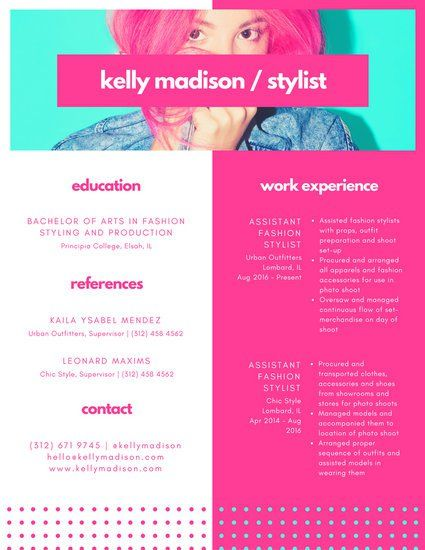 colorful pink aqua dotted photo resume - Fashion Showroom Manager Sample Resume