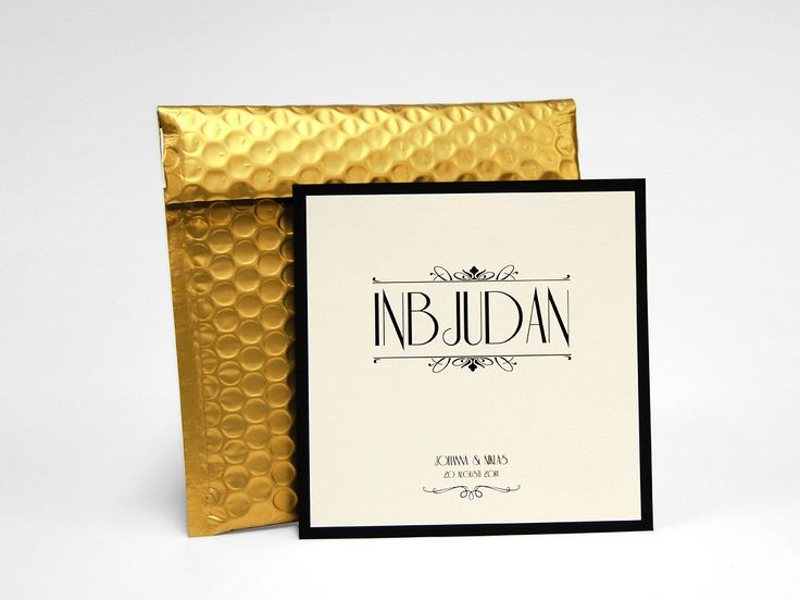 Guld bröllopskort med bubbelkuvert print bröllop exklusivt annorlunda unikt