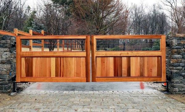Top 60 Best Driveway Gate Ideas Wooden And Metal Entrances Driveway Gate Wood Gates Driveway Wrought Iron Driveway Gates
