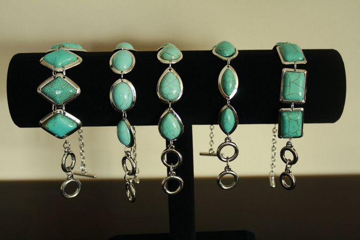 Silver Turquoise Gemstone Bracelets  -  These are almost dainty pieces.  At only $10.00  Go to ceesquared.ca  Come for a visit.
