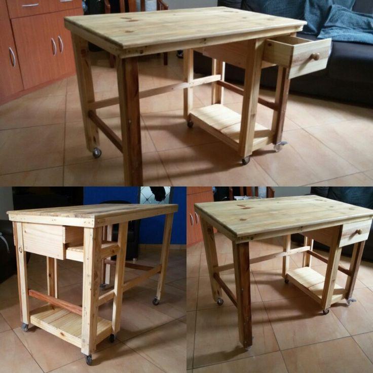 Mesa para computador em madeira reaproveitada 1m x 60cm x H 75cm