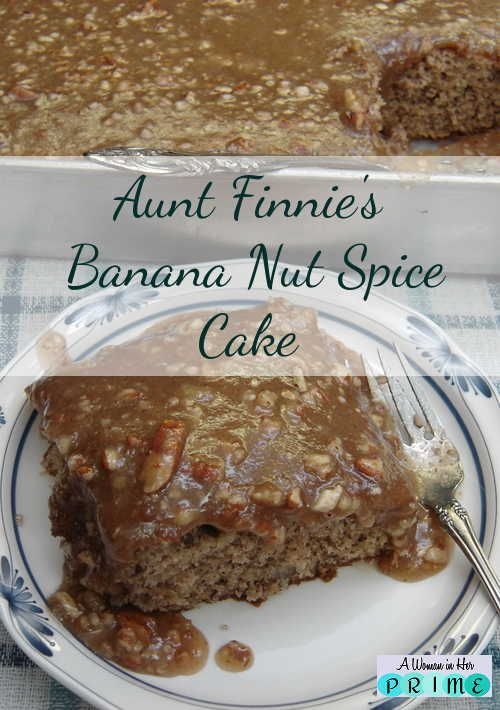 Banana Nut Spice Cake is a great alternative to chocolate. It's so yummy you'll be scraping the pan to get every crumb! http://www.awomaninherprime.com/banana-nut-spice-cake/