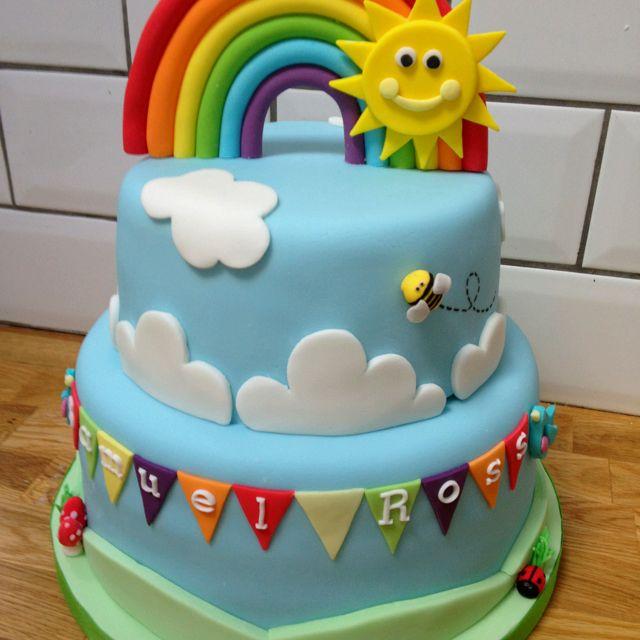 Sunshine and rainbow cake for nephew's christening...