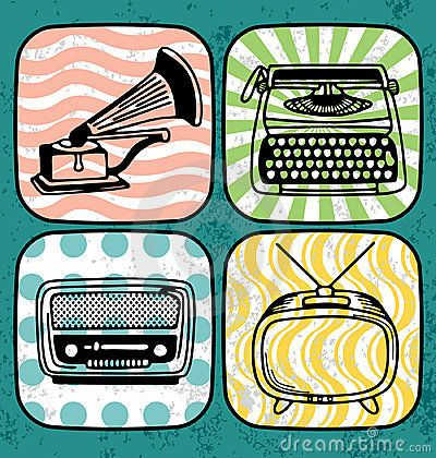 Vintage electric icon set by Ultrapop, via Dreamstime