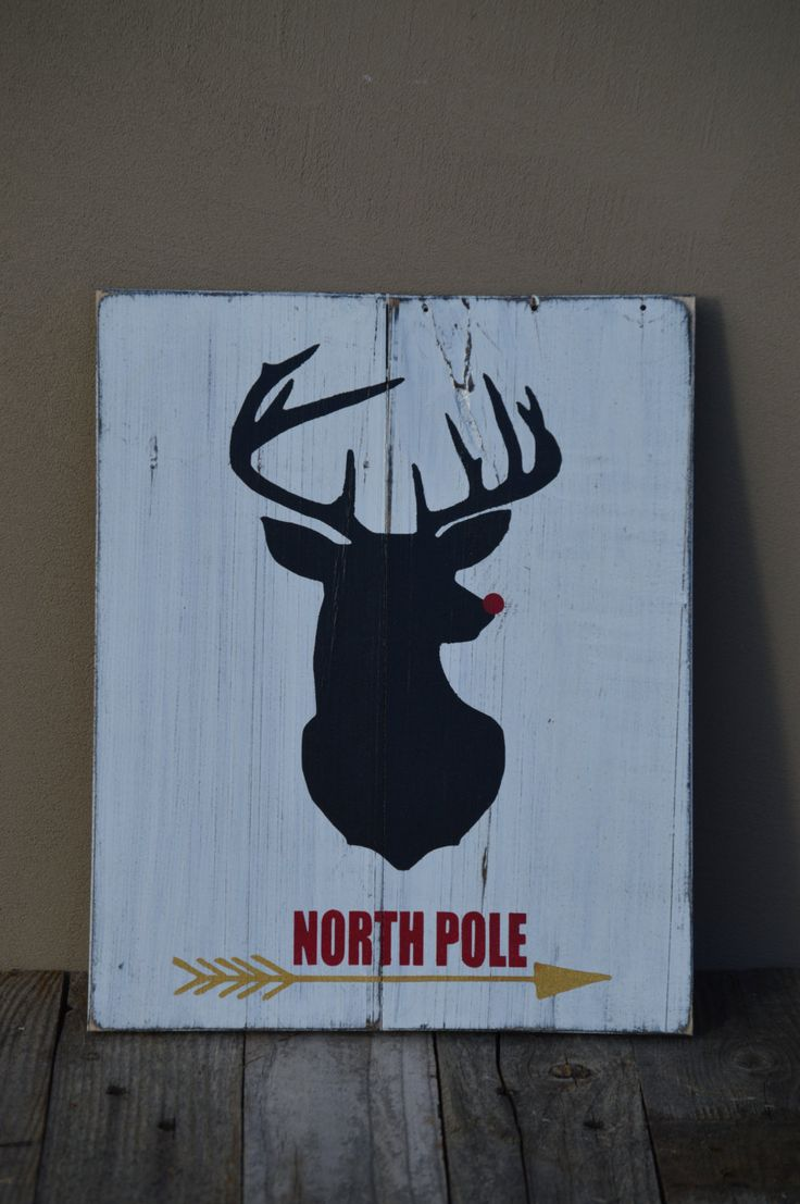 North Pole Rudolph the Red Nosed Reindeer Pallet Wood Sign Christmas Signs Shabby Chic Home Decor Rustic Chic Home Decor Vintage Signs by MadeByFreckles on Etsy