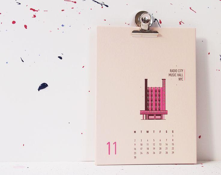 Buildings Of New York City - Radio City Music Hall, mmmMAR Illustrated and hand screened by Marieken Hensen, Calendar 2015