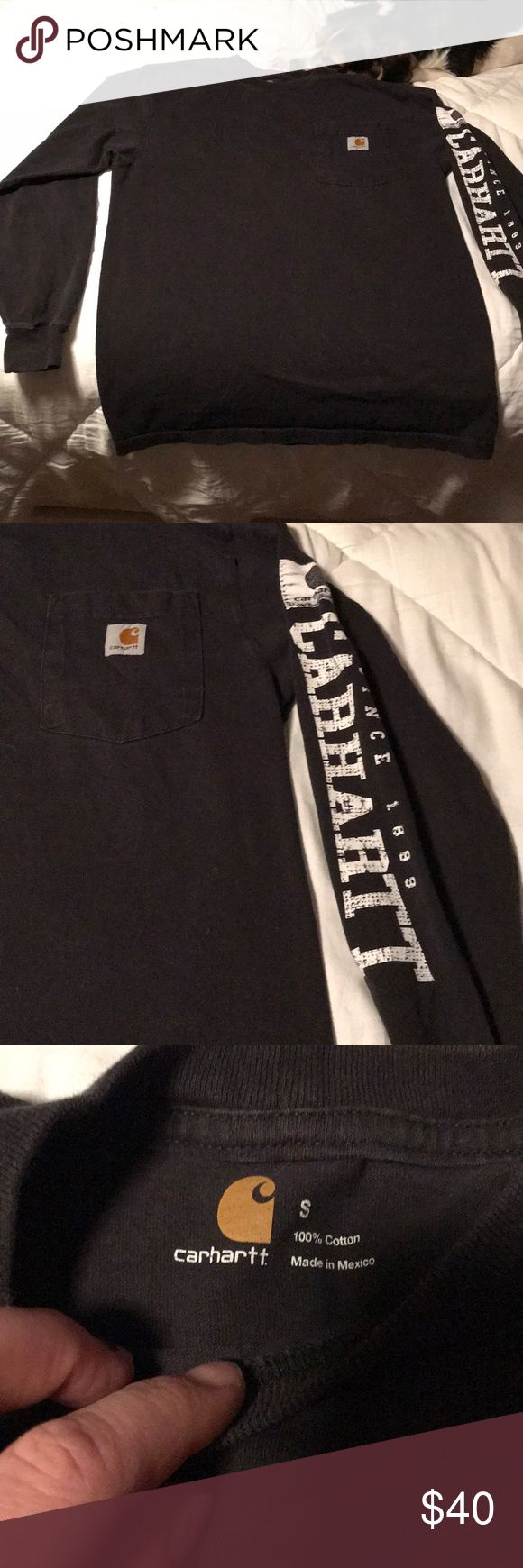 Black long sleeve carhartt shirt Men's small. Can be a woman's small too. Nice and thick. No trades please feel free to make an offer Carhartt Shirts Tees - Long Sleeve
