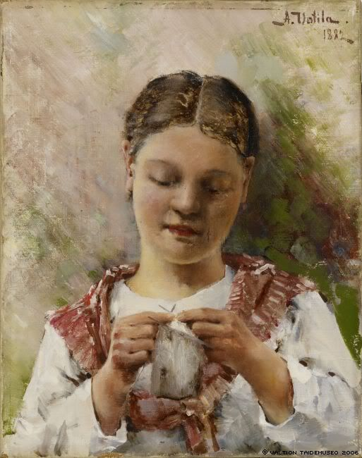 portrait of a peasant girl in white blouse and small pink shawl, knitting, bust.