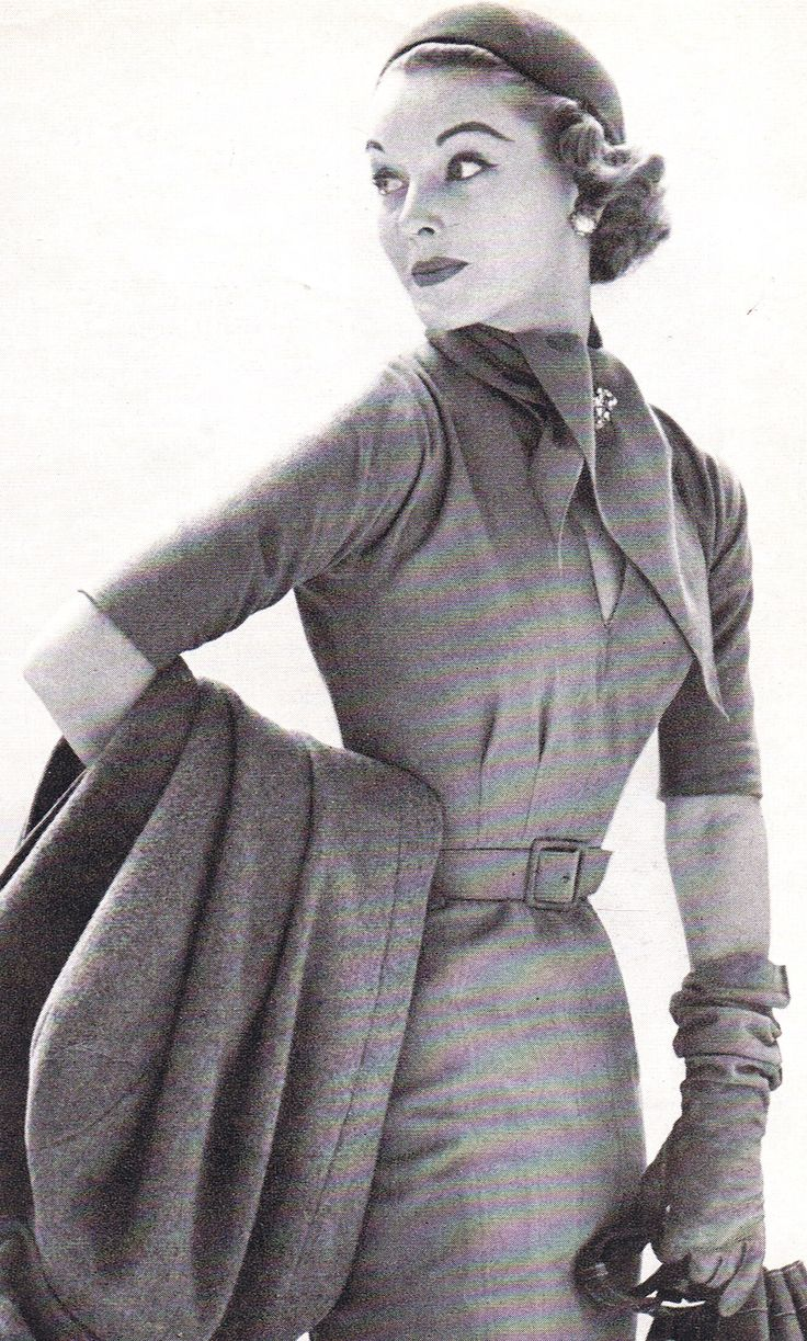 Stylish travel ensemble, 1950s.