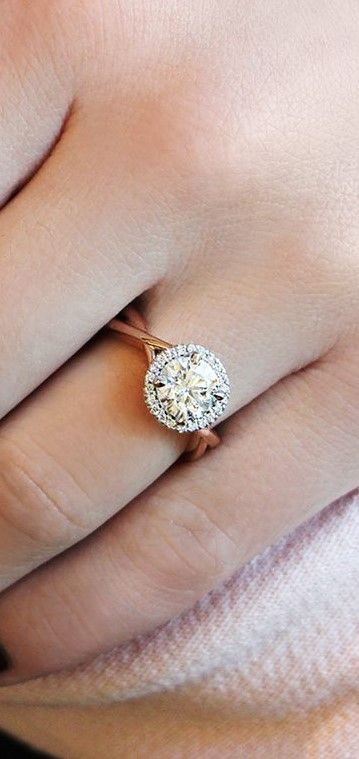 Twisted Rose Gold Engagement Ring with Round Halo Set by Dana Rebecca Designs #danarebecca #engagementring