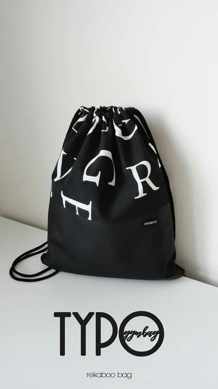 Typography inspired gym bag. Handmade by Rekaboo.bag