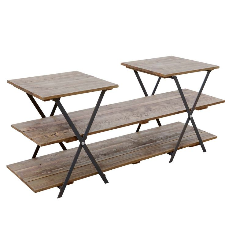 Retail display wooden table with mulitple levels trestle for Table top display ideas