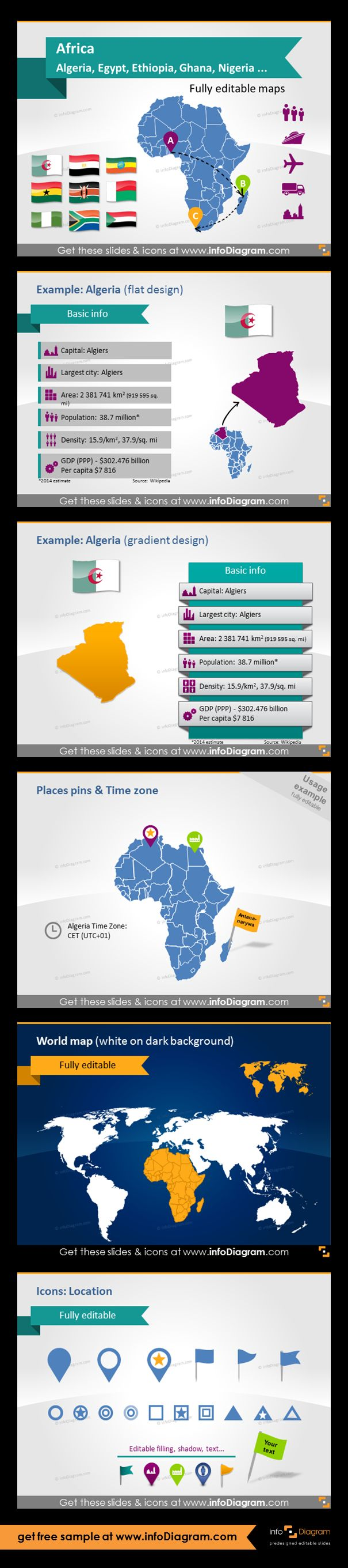 Africa countries - editable PowerPoint maps, localization and transport icons, country statistics. Fully editable maps, icons, arrows. Country statistics data: Population, Density, Area, GDP, Largest city, Capital. World map with Africa highlighted. example of using pins and flags for indicating a place. Location symbols: flags and pics.