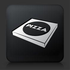Black Square Button with Pizza Box vector art illustration