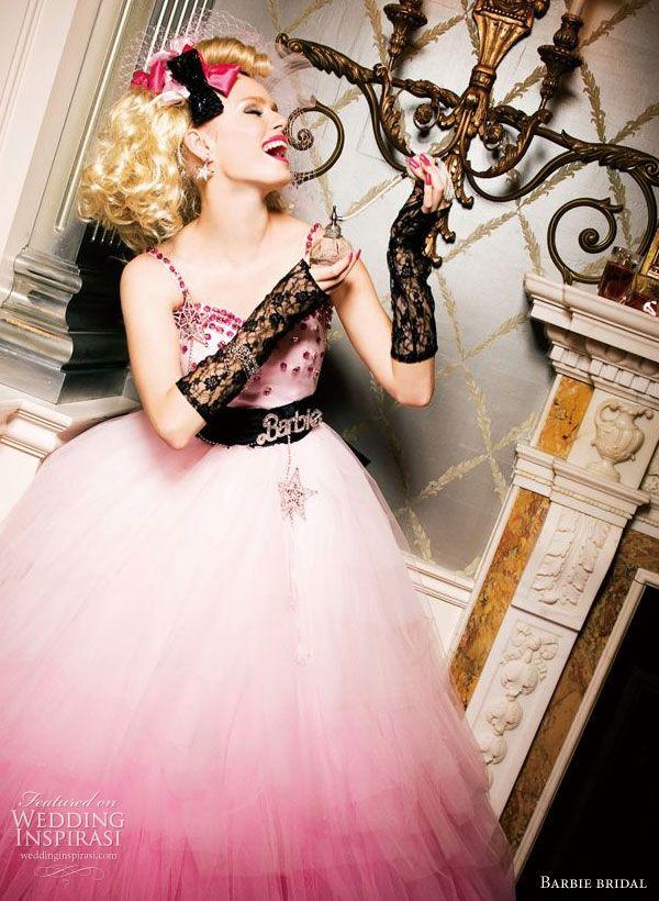 Pink, white and black Barbie Bridal wedding dress - Avril Lavigne Punk Rock Princess style