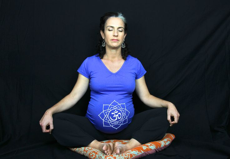 Bliss Full Belly Bamboo Maternity Tee - 'Om within Lotus' Symbol. Organic Cotton / Bamboo. Fair Trade.