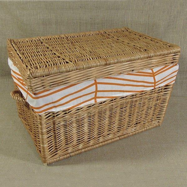 Kufer wiklinowy obszyty materiałem - wzór (pomarańczowy zygzak)