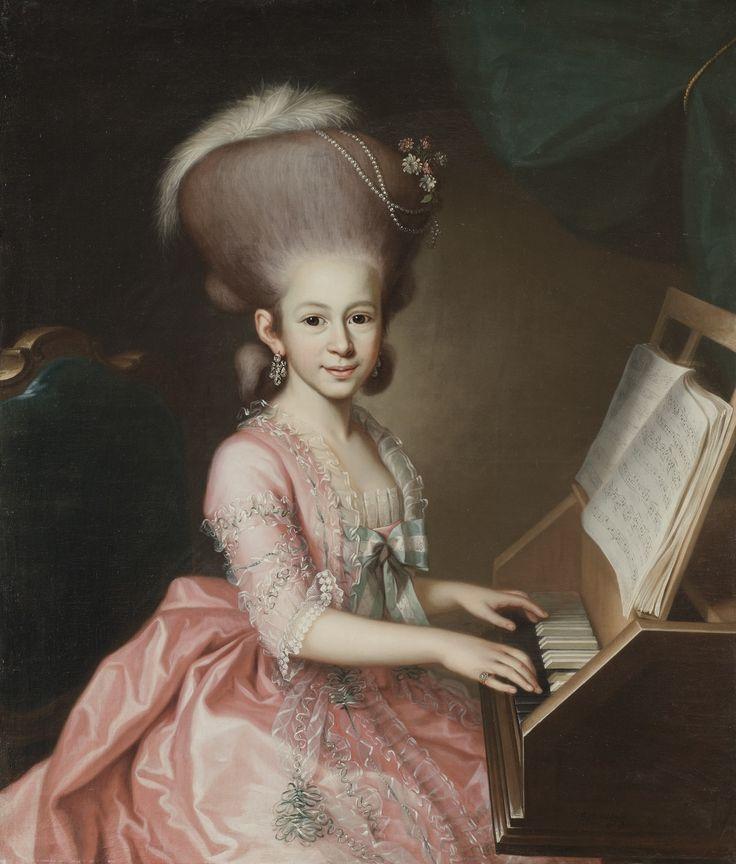 George Anton Abraham Urlaub (1744 - 1788) - Portrait of a young lady at the clavichord, said to be Henriette Haussmann (1771 - 1802), 1779