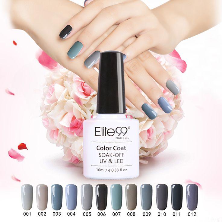 Elite99 Nail Polish 2016 New Gel Nail Polish Soak Off Gel Long Lasting UV LED Gel Nail Gel Art Polish 12 Gray Color 10ml