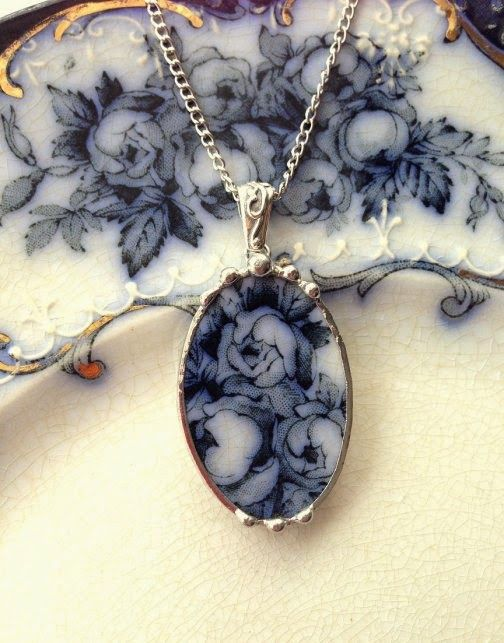 Craft idea - Dishfunctional Designs: New Broken China Jewelry -  Wow so pretty!