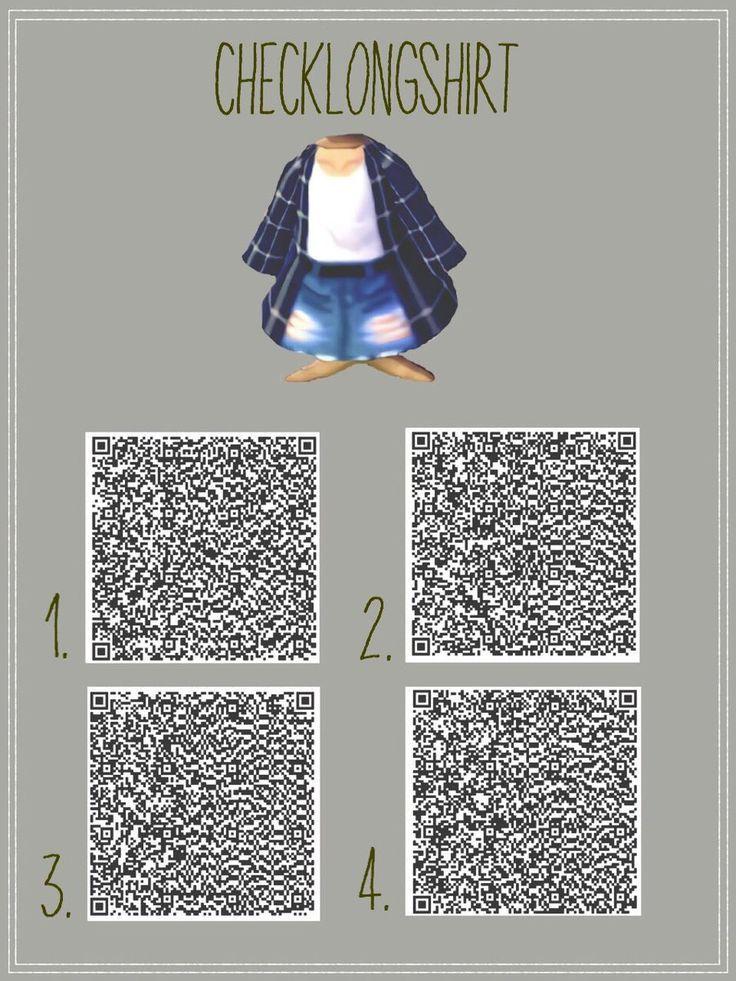 25 + › Blaues kariertes langes Hemd und zerrissene Shorts QR-Code für Animal Crossing: New Leaf ….