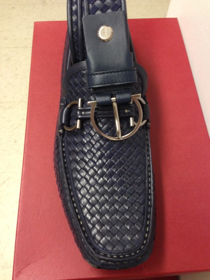 (Blue) Woven driver & belt by Salvatore Ferragamo 2013 collection ...