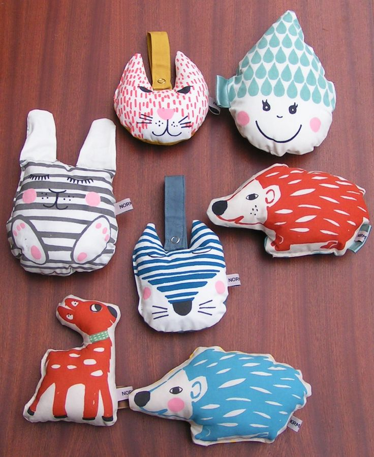 A selection of our silk screened baby rattles. Handmade in Denmark