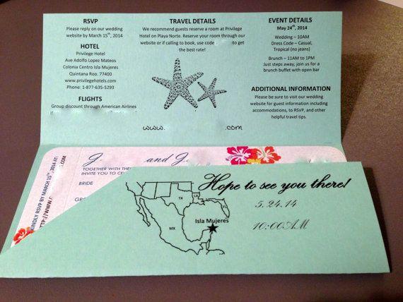 15 best wedding invitations images on Pinterest Wedding - airline ticket invitation