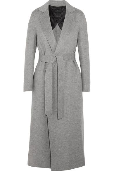 We love the streamlined yet relaxed silhouette of Joseph's long-length 'Kido' coat. In a versatile gray hue, this piece is immaculately cut from a soft wool and cashmere-blend. Wear it without the waist belt for a more relaxed look.