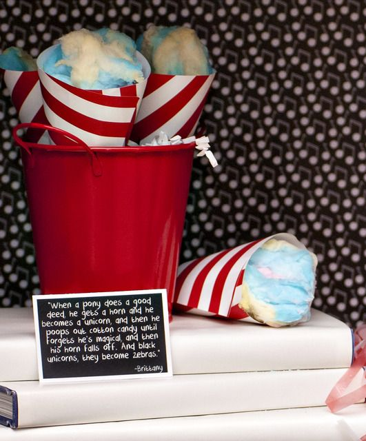 Would be cute for a Dr. Seuss #Party Cotton candy with lines from the show @Gabriella Denizot Keiper