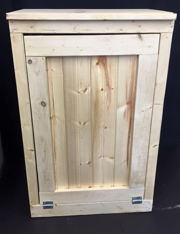 """Handcrafted Primitive Pine Wood Trash Can Handcrafted wooden trash bin, storage bin, etc. Measurements: 20""""W x 36""""H x 11 1/4""""D Trash holder fits standard 13 gallon can . Has a open back for easy cleaning . https://www.etsy.com/your/shops/Katswoodcraft/tools/listings/261169568"""