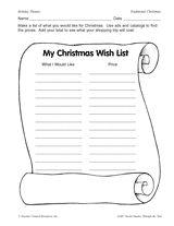 My Christmas Wish List: Printable Holiday Activity