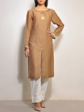 Brown-Gold Chanderi Tunic